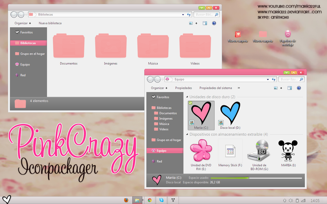 Tema PinkCrazy Para Iconpackager by Mariia22
