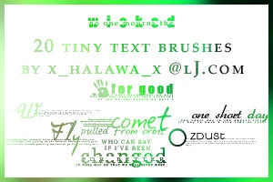 20 Wicked Tiny Text Brushes by Xxhalawaxx