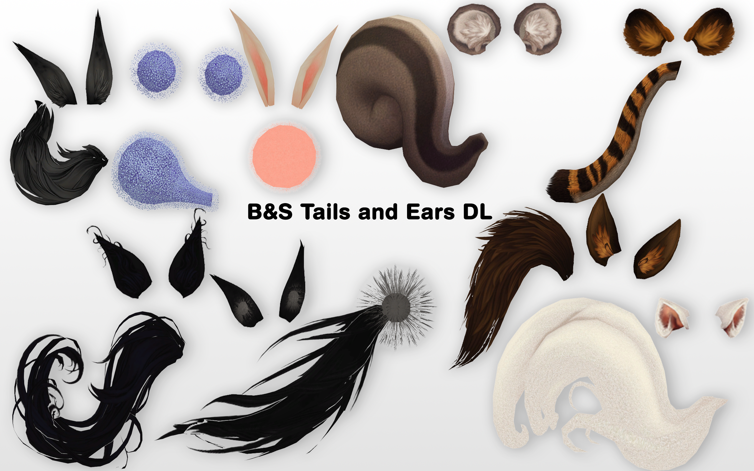 Black Cat Ears And Tail Set