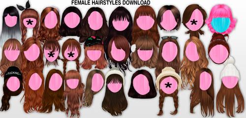 MMD Female Hairstyles DL by UnluckyCandyFox