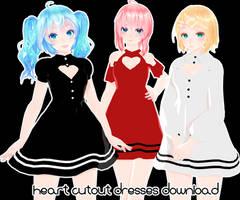 [MMD DL]Heart cutout dresses by UnluckyCandyFox
