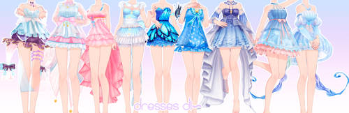 [MMD DL]Dresses pack by UnluckyCandyFox