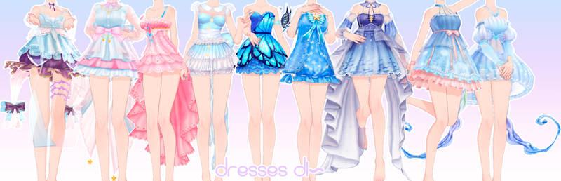 [MMD DL]Dresses pack by UnluckyCandyFox