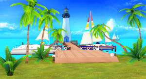 [MMD DL] Pier with lighthouse stage