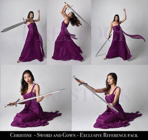 Christine - Sword and Gown Stock Pose Reference