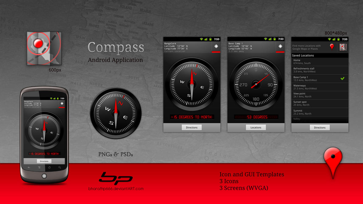 Android: Compass App. Concept by bharathp666