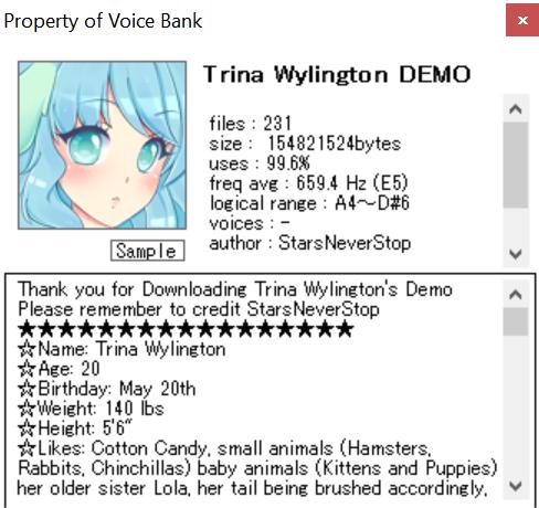 Trina Wylington HQ Demo Voicebank Download by Starlight-Enterprise