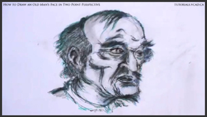 Old Man in Two Point Perspective Drawing by drawingcourse