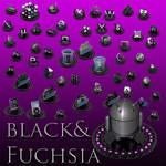 black and fuchsia icon set