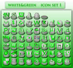white and green icons set 1