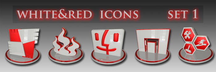 white and red icons set 1