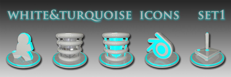 white and turquoise icon set 1 by xylomon