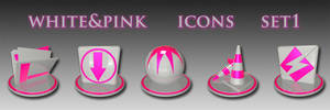white and pink icon set 1
