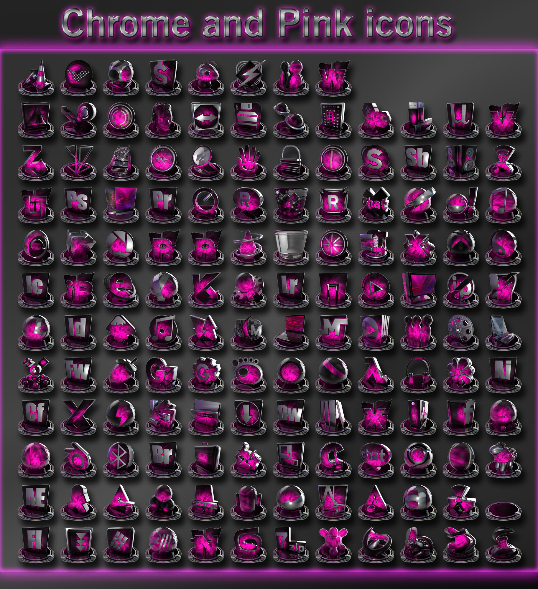 chrome and pink set by xylomon