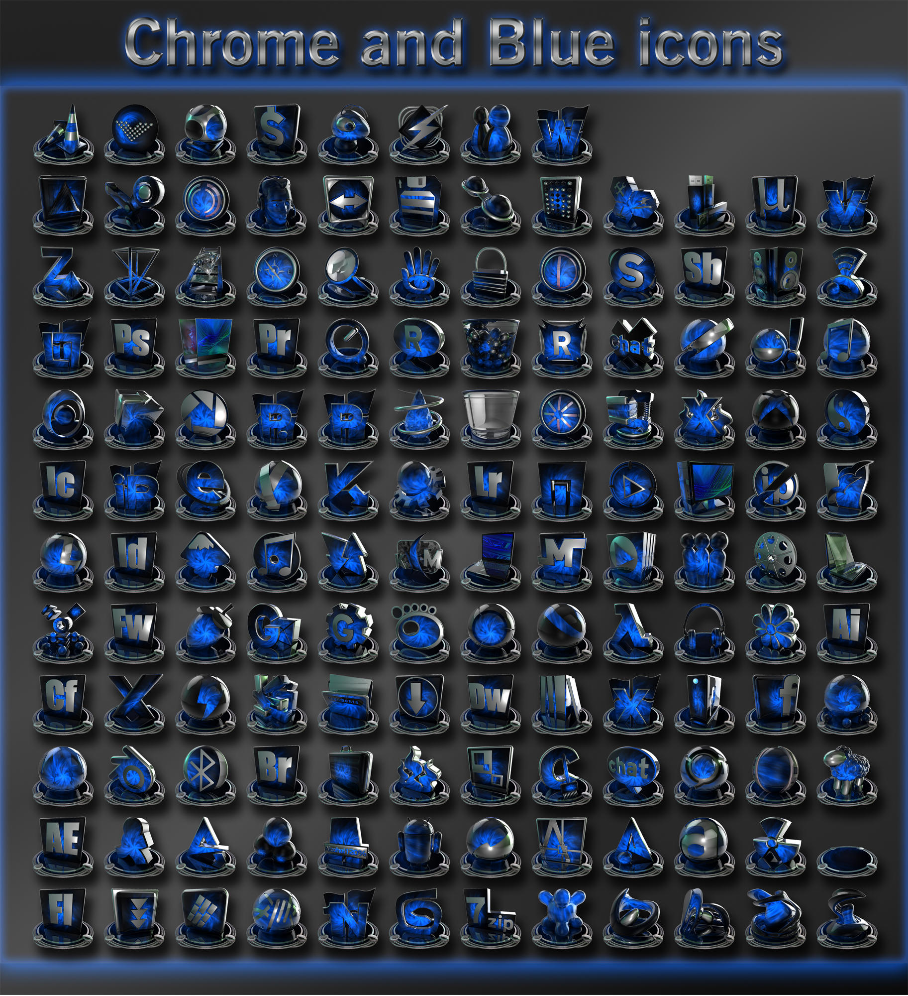 chrome and blue icons by xylomon