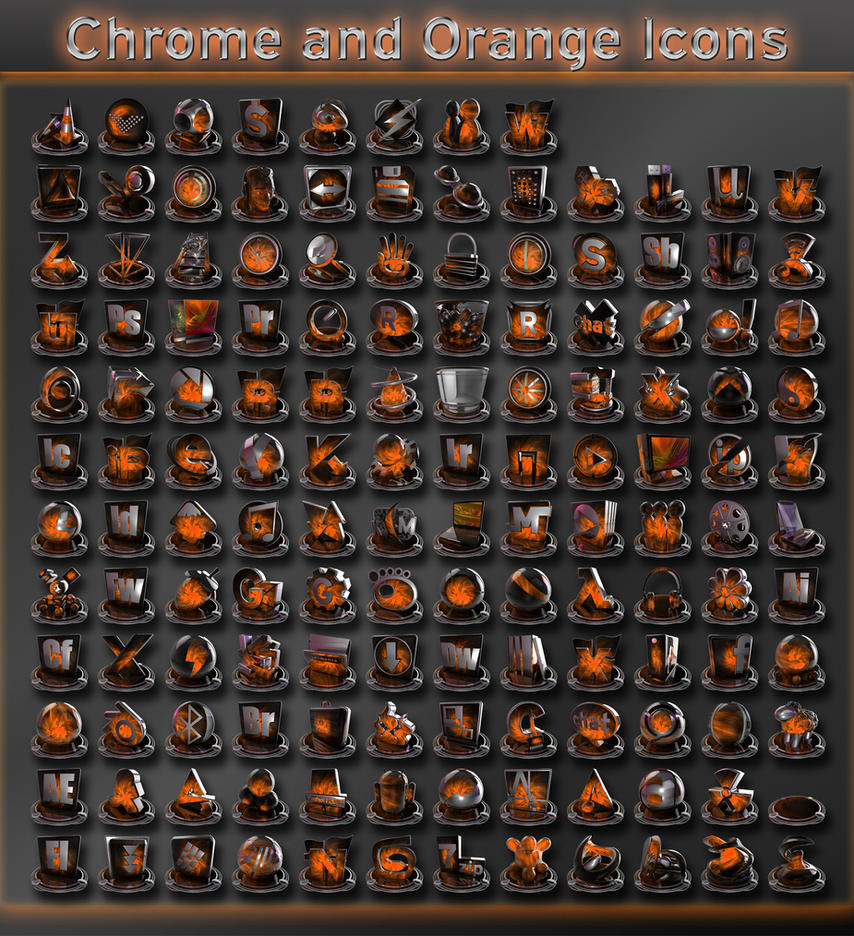 chrome and orange icons by xylomon