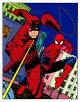 Daredevil and Spider Ink Paulo-Siqueira Flat Carlo by carloscamposart