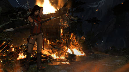 Lara with bow (Burning) by Shyngyskhan