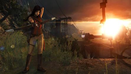 Lara with bow (Sunset) by Shyngyskhan