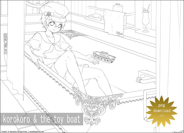 Lineart: Korokoro and the Toy Boat by Kaze-Hime