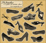 Shoes - 13 pairs, 26 brushes