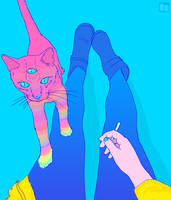 Cat and spliff by SuperPhazed