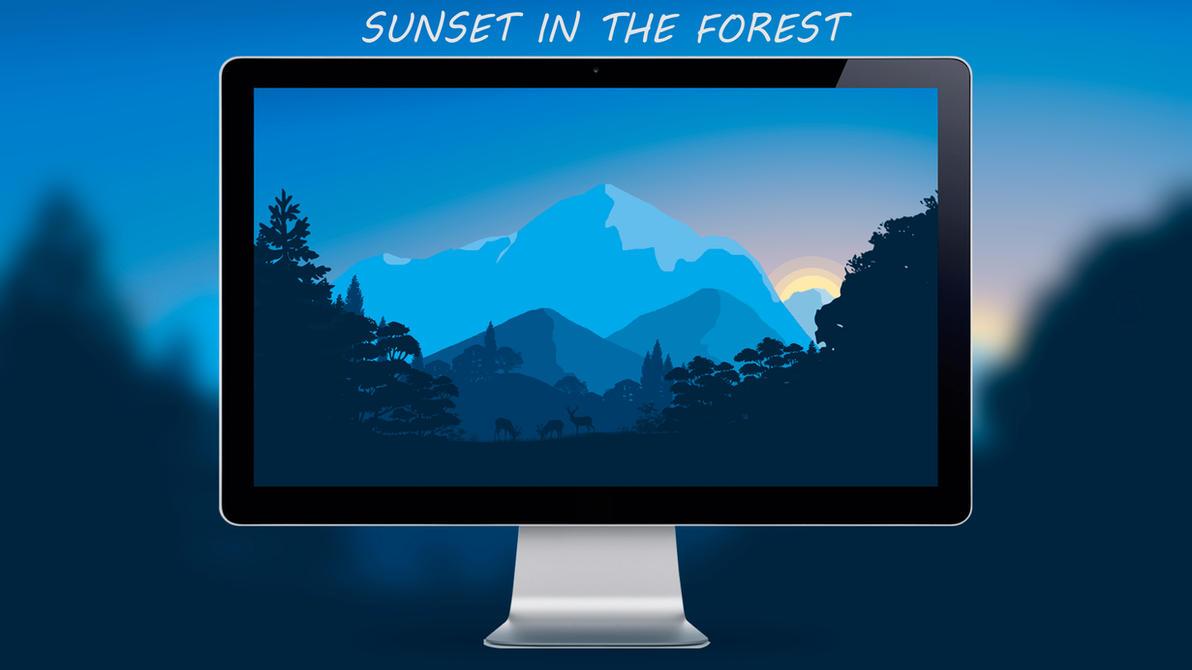wallpaper sunset in the forest flatdesignuchiha on deviantart