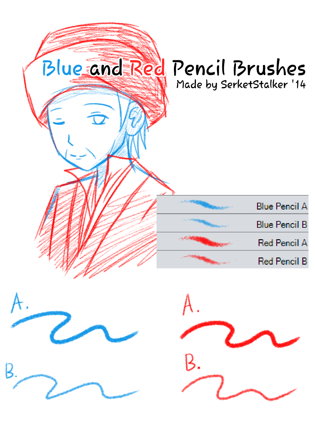 + Blue and Red Pencils Brushes | For MS5/CSP + by SerketXXI