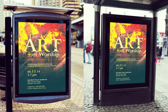 Bus Stop Poster Mockup Template By Loswl