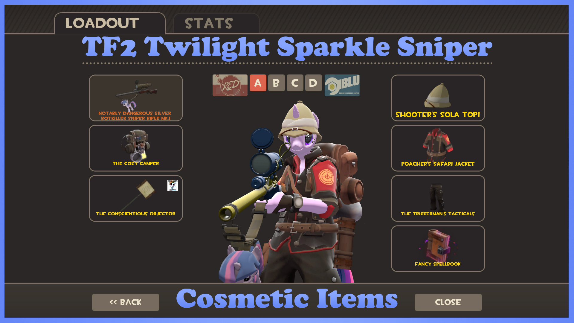 TF2 Twilight Sparkle Sniper Cosmetic Items by LightningDart