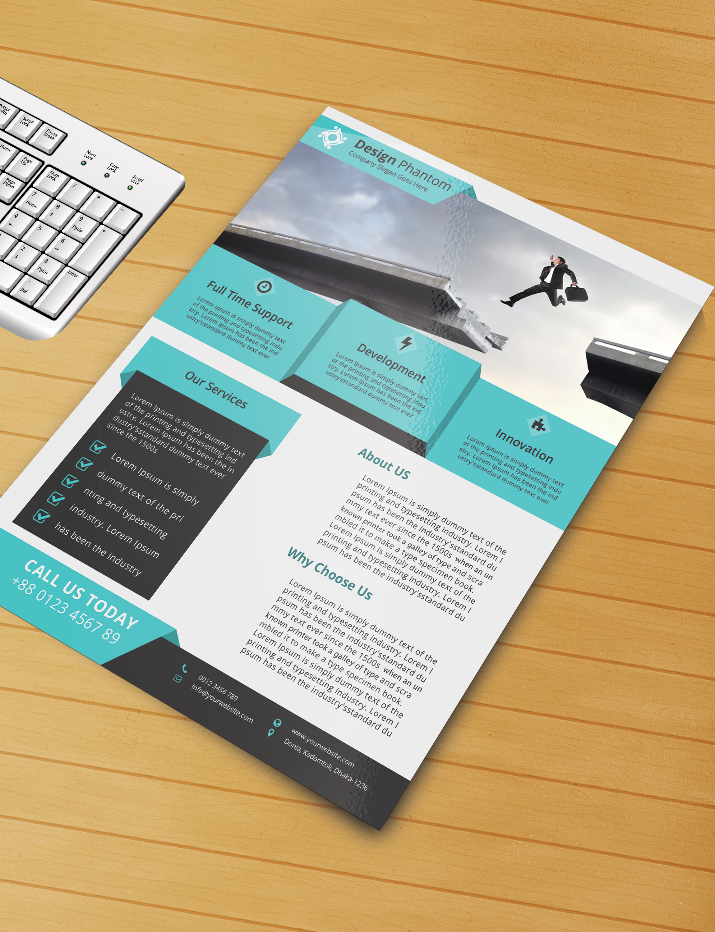 Free flyer psd template free download by designphantom for Brochure template psd free download