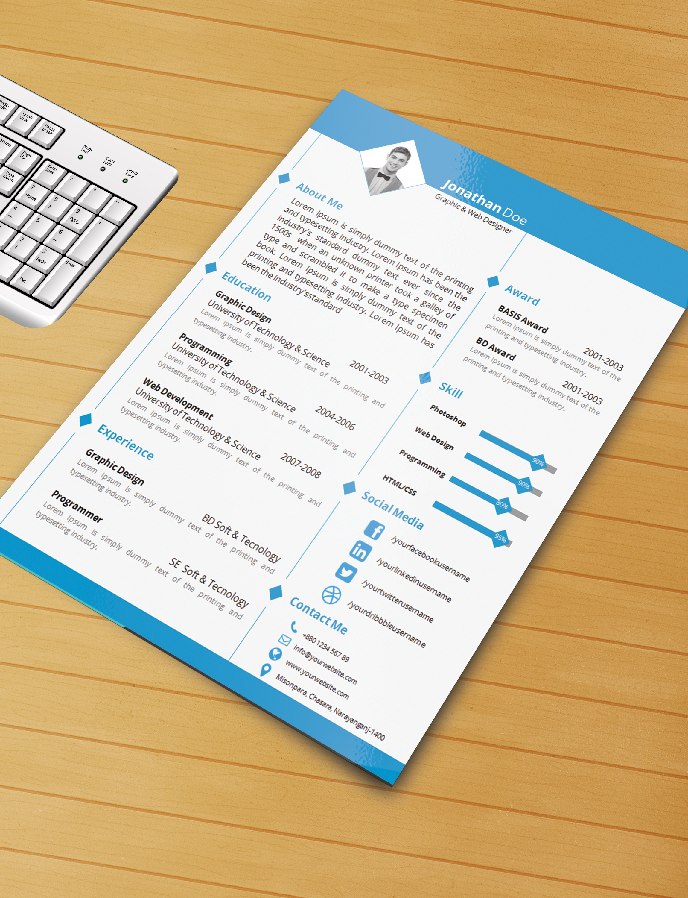 resume template with ms word file free download by designphantom - Free Resume Templates Free