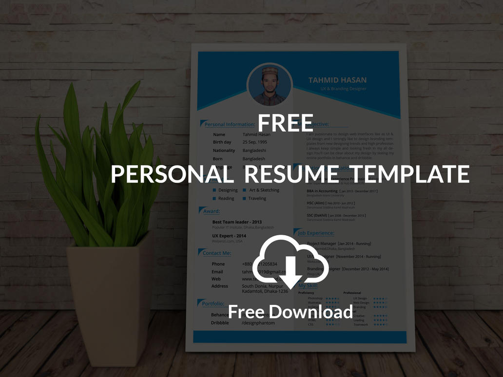 Personal Resume Template (Free Download) by designphantom