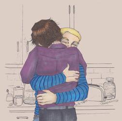 Johnlock: breakfast hug by roryalice