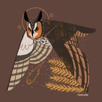 Familiars: Long Eared Owl by reimena