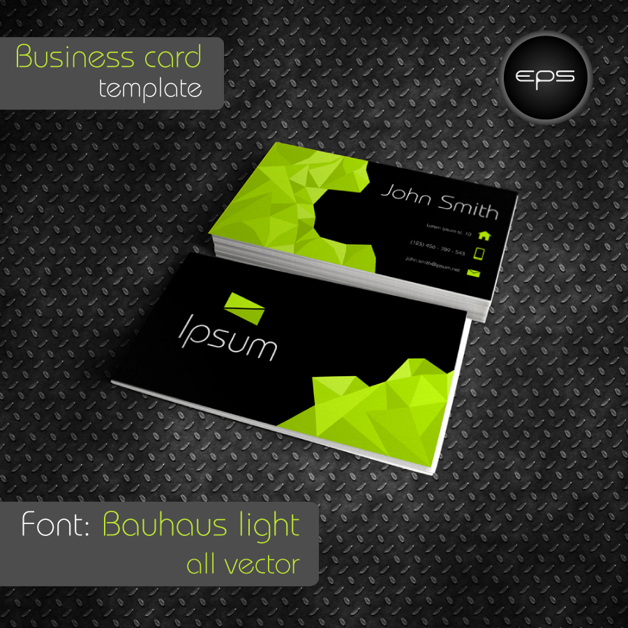 Business card template - green polygon and black by Mischoko on ...
