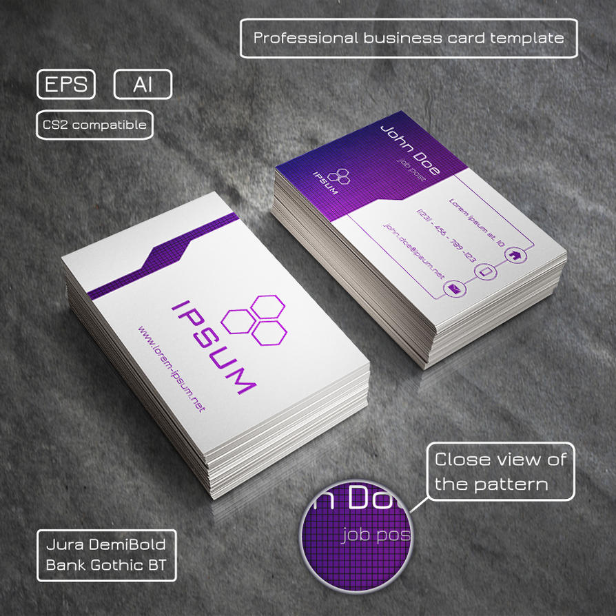 Professional business card - purple and light grey by Mischoko on ...