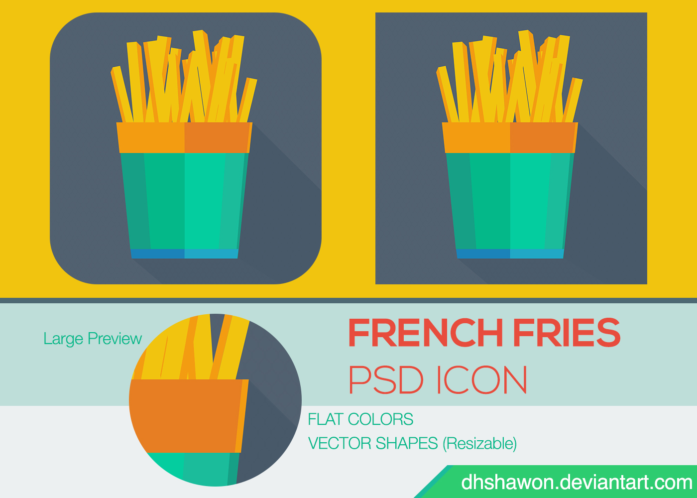 French Fries Flat Icon PSD