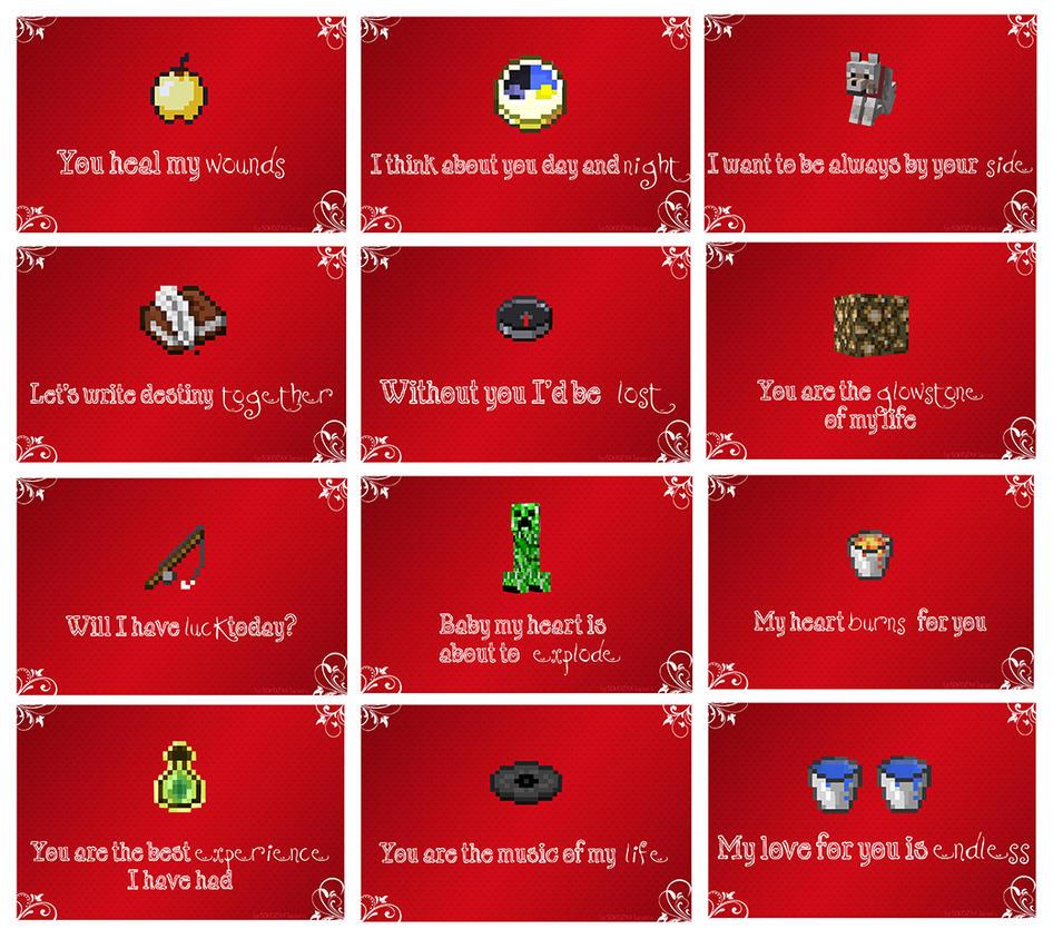 Minecraft Valentine Cards By Mythikun On Deviantart