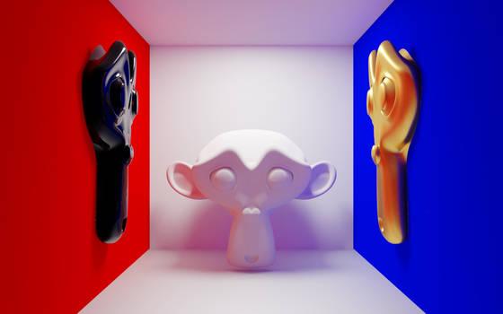 Blender monkey in cornell box