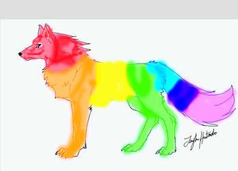 Rainbow Wolf by dragonheather