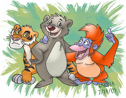 Shere Khan, Baloo, and Louie.. by funlakota