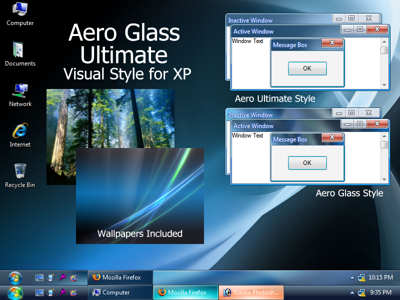 Download and install windows 7 themes on xp or windows vista.