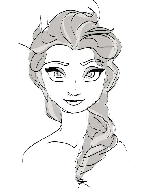 Elsa from frozen sketch by frenchemily