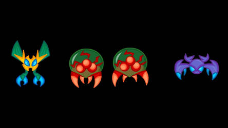 Animated Metroid Sprites 3: Monsters 2 by LegendaryFrog