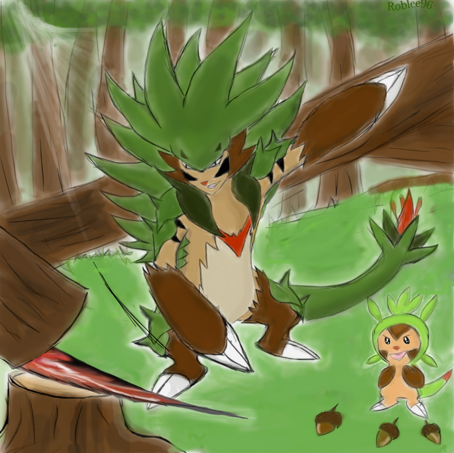 Chespin evolution Thorncupin Nightslash by roblee96