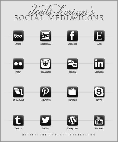 Black + White - Social Media Icons by devils-horizon