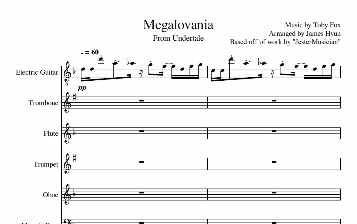Megalovania Partition Piano Easy