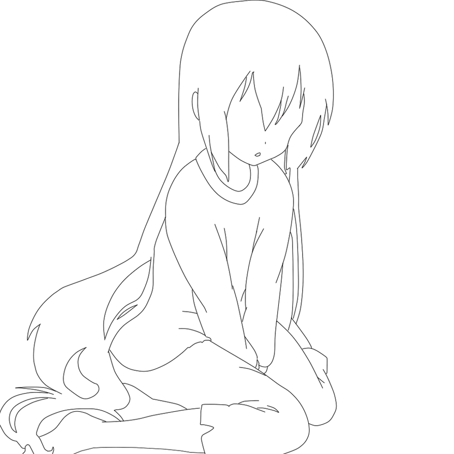 FREE Line-art ! Feel Free To Use (Sad Anime Girl) By