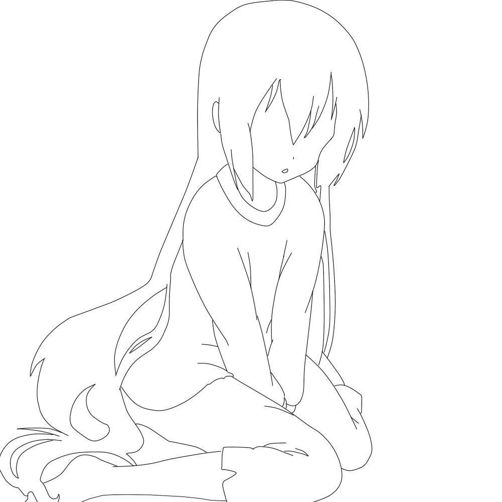 Free Line Art Feel Free To Use Sad Anime Girl By
